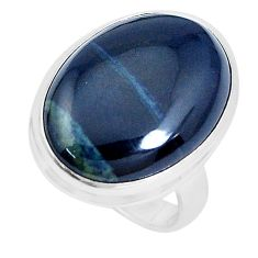 13.55cts natural black vivianite 925 silver solitaire ring jewelry size 7 p27763