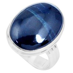 16.17cts natural black vivianite 925 silver solitaire ring jewelry size 9 p27765