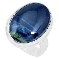 17.18cts natural black vivianite 925 silver solitaire ring jewelry size 9 p27767