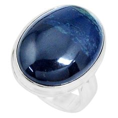 15.39cts natural black vivianite 925 silver solitaire ring size 6.5 p27769