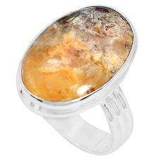 14.14cts natural yellow plume agate 925 silver solitaire ring size 10.5 p27783