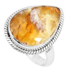 14.90cts natural yellow plume agate 925 silver solitaire ring size 9 p27788