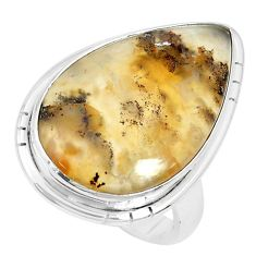 925 silver 14.45cts natural yellow plume agate pear solitaire ring size 6 p27790