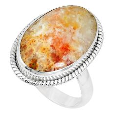 15.02cts natural yellow plume agate 925 silver solitaire ring size 8.5 p27793