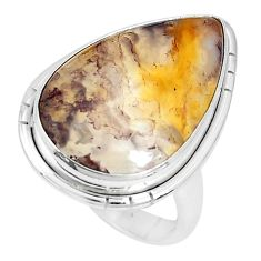 14.47cts natural yellow plume agate 925 silver solitaire ring size 6 p27798