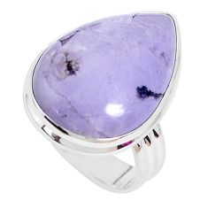 925 silver 17.20cts natural purple tiffany stone solitaire ring size 9 p27808