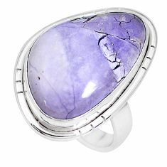 13.24cts natural purple tiffany stone 925 silver solitaire ring size 8.5 p27814