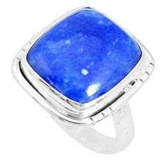 12.83cts natural blue quartz palm stone 925 silver solitaire ring size 9 p27821