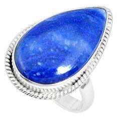 16.15cts natural blue quartz palm stone 925 silver solitaire ring size 8 p27822