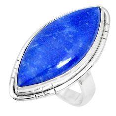 16.73cts natural blue quartz palm stone 925 silver solitaire ring size 6 p27823
