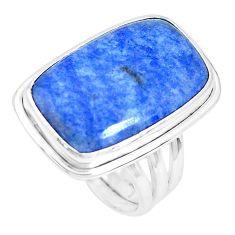 925 silver 15.33cts natural blue quartz palm stone solitaire ring size 8 p27824
