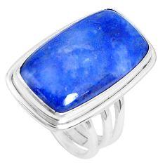 19.99cts natural blue quartz palm stone 925 silver solitaire ring size 9 p27825