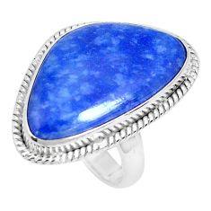 15.85cts natural blue quartz palm stone 925 silver solitaire ring size 7 p27826