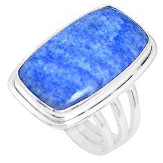 18.99cts natural blue quartz palm stone 925 silver solitaire ring size 10 p27827