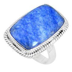 925 silver 15.85cts natural blue quartz palm stone solitaire ring size 7 p27828