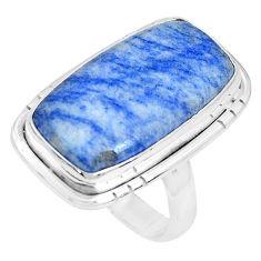 13.24cts natural blue quartz palm stone 925 silver solitaire ring size 6 p27829