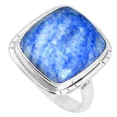 16.73cts natural blue quartz palm stone 925 silver solitaire ring size 10 p27830