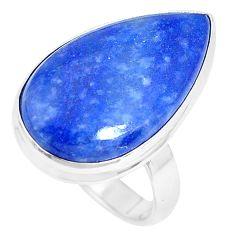 15.36cts natural blue quartz palm stone 925 silver solitaire ring size 9 p27831