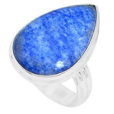 925 silver 16.15cts natural blue quartz palm stone solitaire ring size 10 p27832