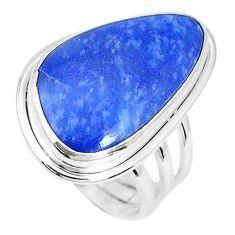 15.97cts natural blue quartz palm stone 925 silver solitaire ring size 7 p27833