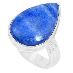 15.39cts natural blue quartz palm stone 925 silver solitaire ring size 10 p27834