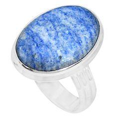 15.29cts natural blue quartz palm stone silver solitaire ring size 9.5 p27835