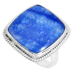 16.17cts natural blue quartz palm stone silver solitaire ring size 8.5 p27836