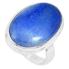 925 silver natural blue quartz palm stone oval solitaire ring size 6.5 p27837