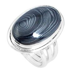 925 silver 14.12cts natural black psilomelane oval solitaire ring size 6 p27840
