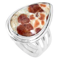 Natural garnet in limestone spessartine 925 silver solitaire ring size 8 p27841