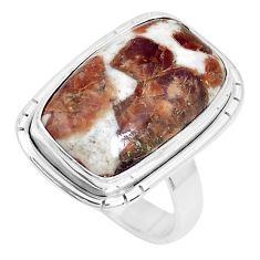 Natural garnet in limestone spessartine silver solitaire ring size 5.5 p27847