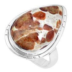 Natural garnet in limestone spessartine 925 silver solitaire ring size 8 p27852