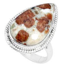 Natural garnet in limestone spessartine 925 silver solitaire ring size 9 p27854