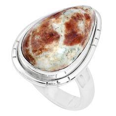 Natural garnet in limestone spessartine 925 silver solitaire ring size 6 p27856