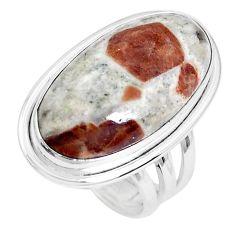 Natural garnet in limestone spessartine 925 silver solitaire ring size 6 p27857