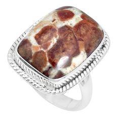 925 silver natural garnet in limestone spessartine solitaire ring size 8 p27859