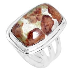 Natural garnet in limestone spessartine 925 silver solitaire ring size 6 p27860
