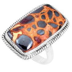 20.33cts natural brown bauxite 925 silver solitaire ring jewelry size 9 p27881