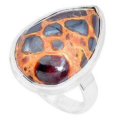 925 silver 15.39cts natural brown bauxite solitaire ring jewelry size 8 p27888