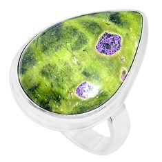 Natural atlantisite stichtite-serpentine 925 silver solitaire ring size 8 p27915