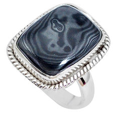 13.85cts natural black psilomelane 925 silver solitaire ring size 6 p27936