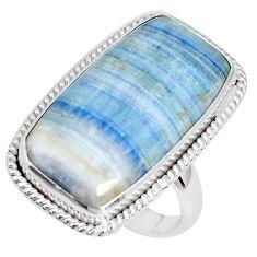 Natural blue scheelite (lapis lace onyx) silver solitaire ring size 8.5 p27949