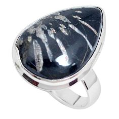 925 silver 14.45cts natural black banded oil shale solitaire ring size 10 p27953