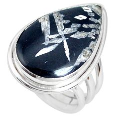 16.87cts natural black banded oil shale 925 silver solitaire ring size 8 p27955