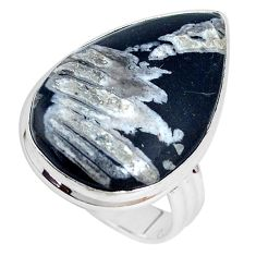 18.70cts natural black banded oil shale silver solitaire ring size 9.5 p27956