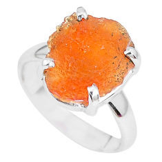 6.26cts natural orange mexican fire opal 925 silver solitaire ring size 6 p28045