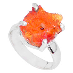 925 silver 5.22cts natural orange mexican fire opal solitaire ring size 5 p28048