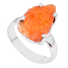 5.17cts natural orange mexican fire opal silver solitaire ring size 5.5 p28060