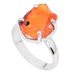 925 silver 6.39cts natural orange mexican fire opal solitaire ring size 9 p28069