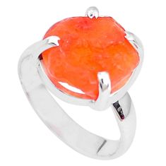 5.17cts natural orange mexican fire opal silver solitaire ring size 5.5 p28076